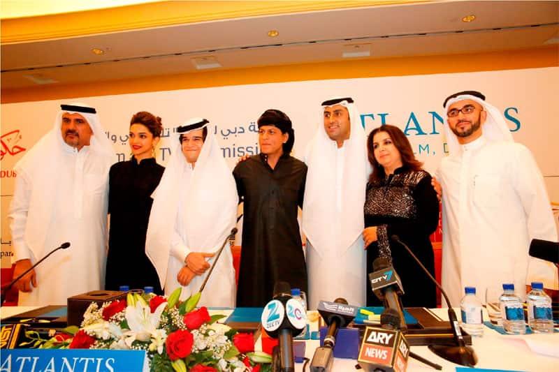 Boman Irani, Deepika Padukone, Vivaan Shah, Shah Rukh Khan, Abhishek Bachchan, Farah Khan and Jamal Al Sharif (Chairman, Dubai Film & TV Commission) at 'Happy New Year' press conference in Dubai.