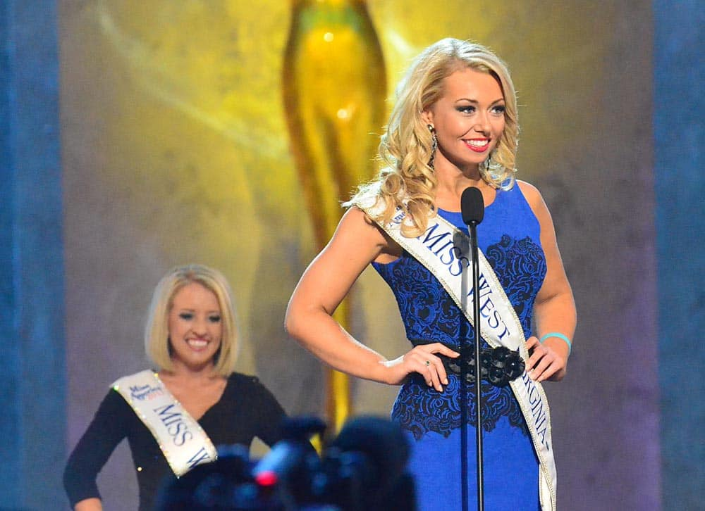 Miss West Virginia, Miranda Harrison, speaks during the preliminary competition of the Miss America Pageant at Boardwalk Hall, in Atlantic City.