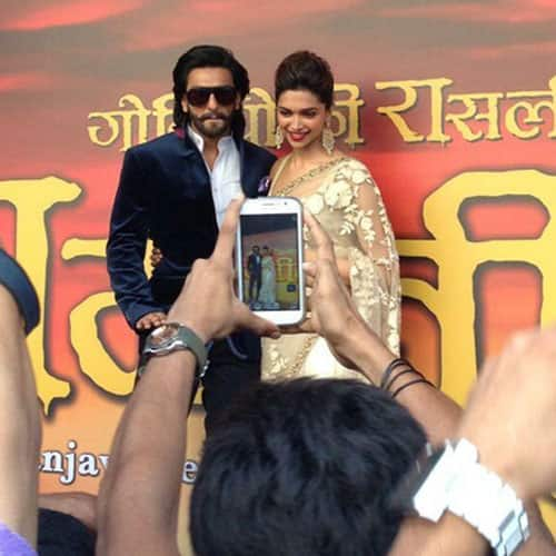 Ranveer Singh and Deepika Padukone at the trailer launch of their latest 'Ramleela'. Pic courtesy: @Ramleela_movie