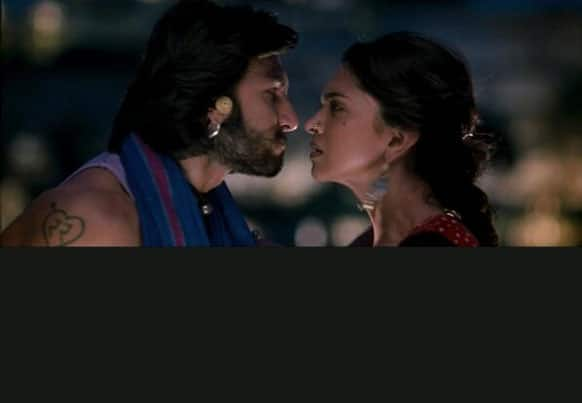 Ranveer (Ram) and Deepika (Leela) in a heated argument.