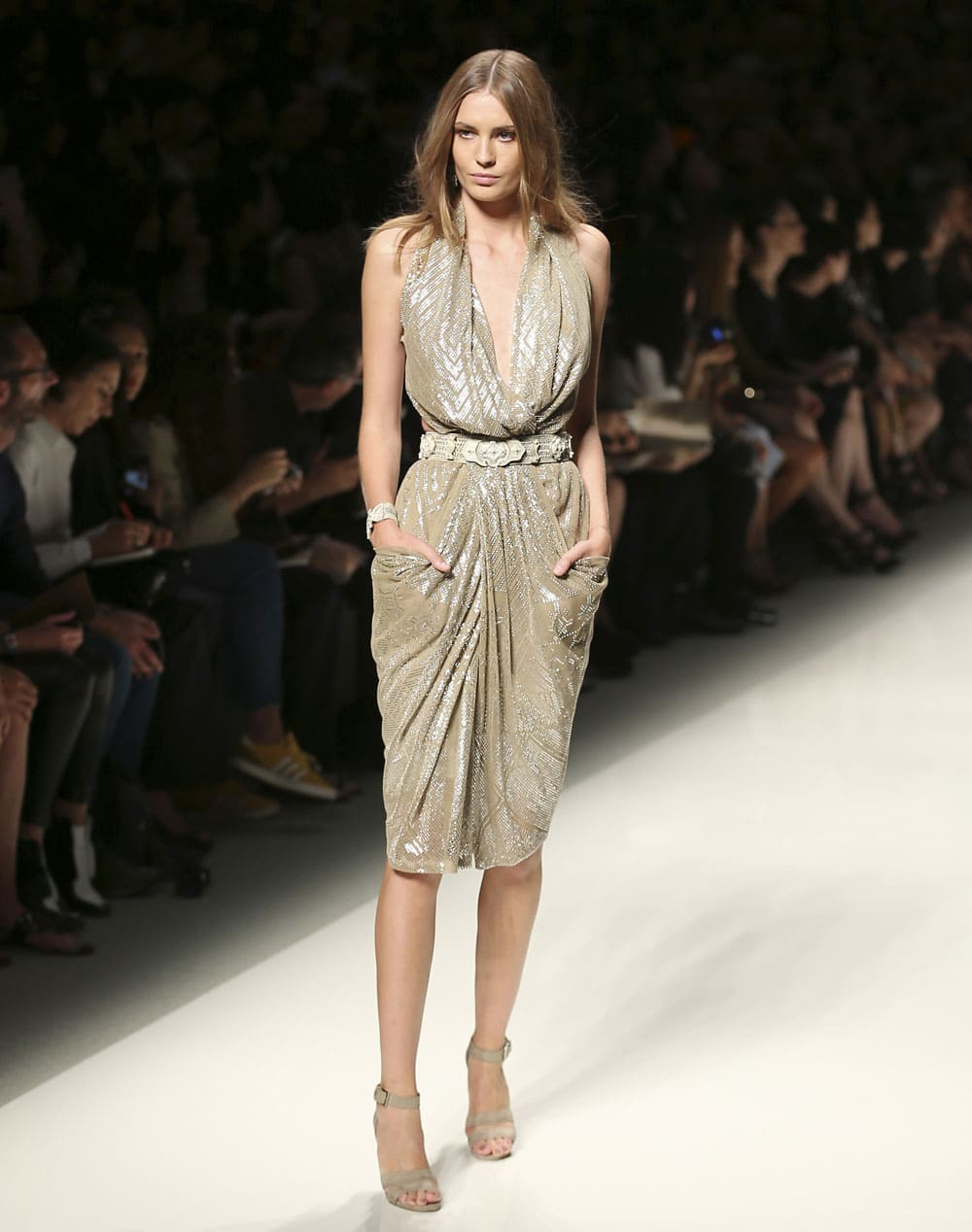 A model wears a creation for Etro women's Spring-Summer 2014 collection, part of the Milan Fashion Week.