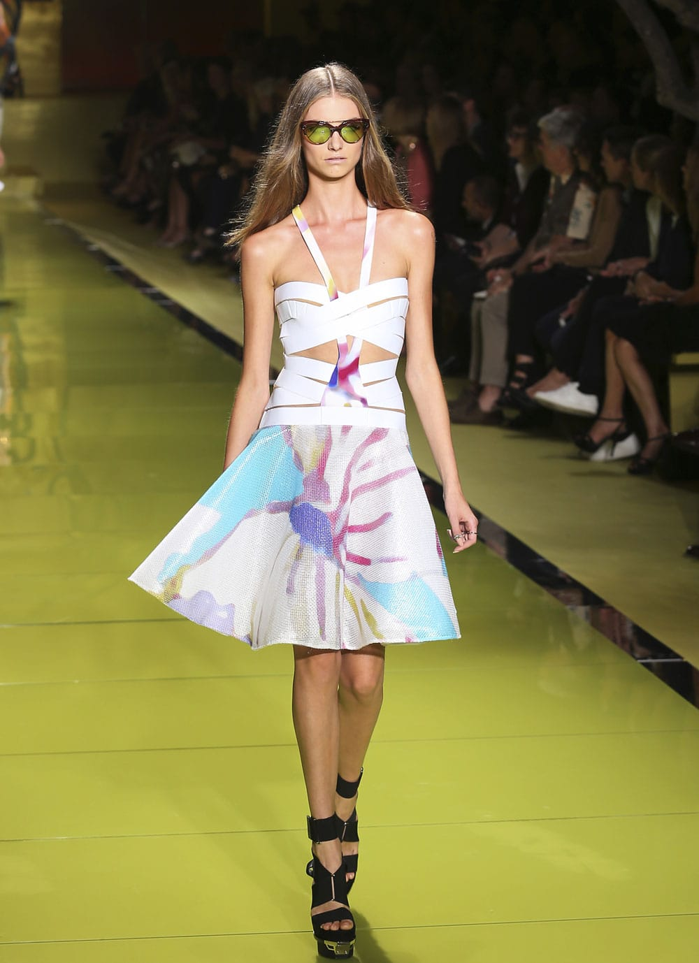 A model wears a creation for Versace's women's Spring-Summer 2014 collection, part of the Milan Fashion Week.