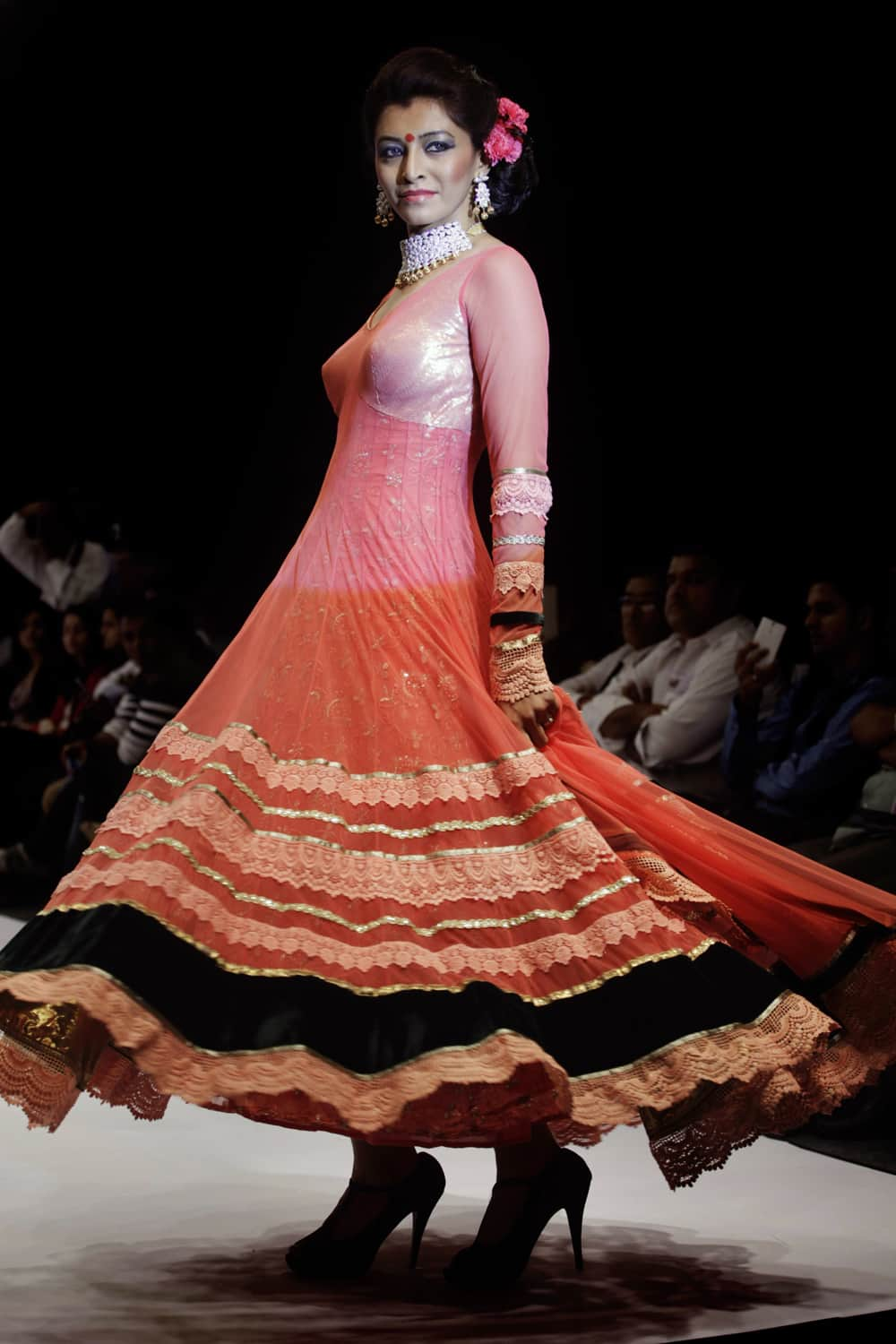 A model displays a creation by designer Sumit Dasgupta during the India Jewellery and Fashion Week (IJFW) in Ahmadabad.