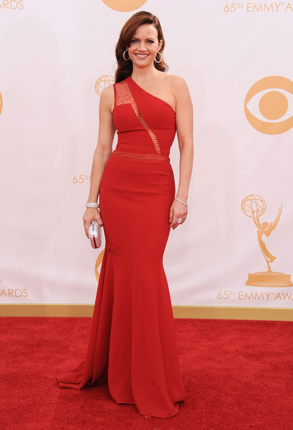 Carla Gugino arrives at the 65th Primetime Emmy Awards at Nokia Theatre.