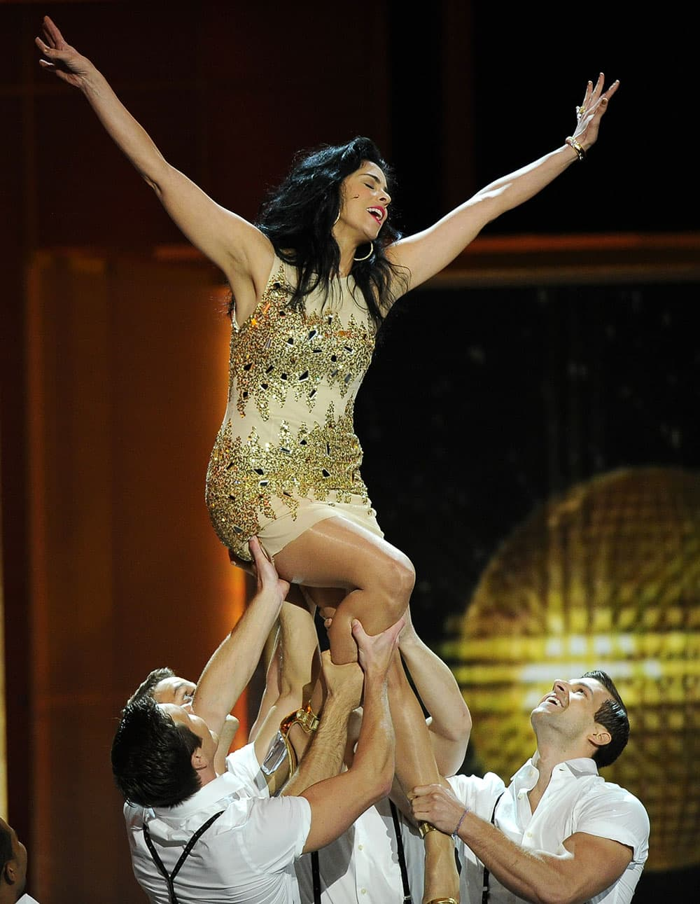 Sarah Silverman performs with dancers at the 65th Primetime Emmy Awards at Nokia Theatre.