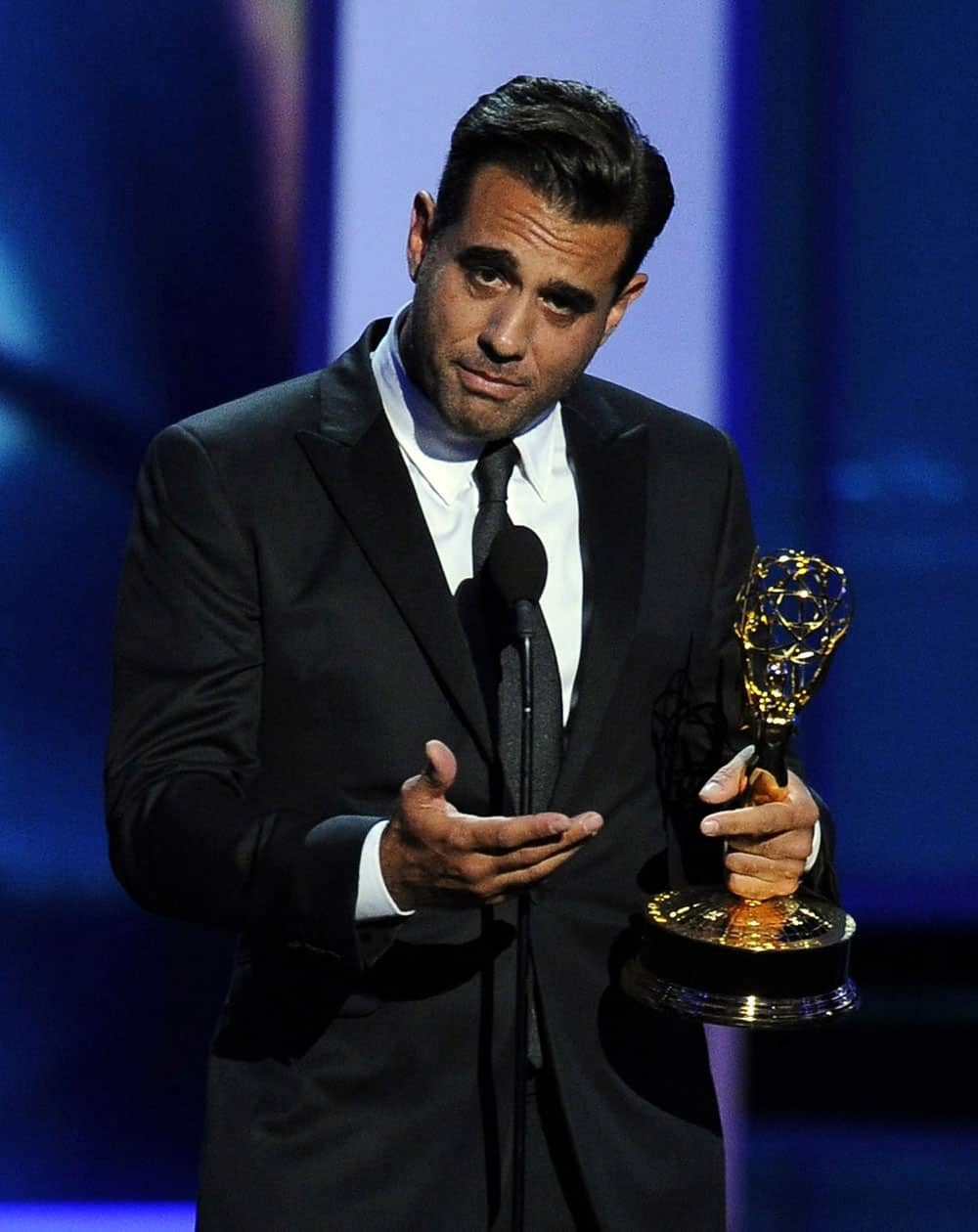 """Bobby Cannavale accepts the award for outstanding supporting actor in a drama series for his role on """"Boardwalk Empire"""" at the 65th Primetime Emmy Awards at Nokia Theatre."""
