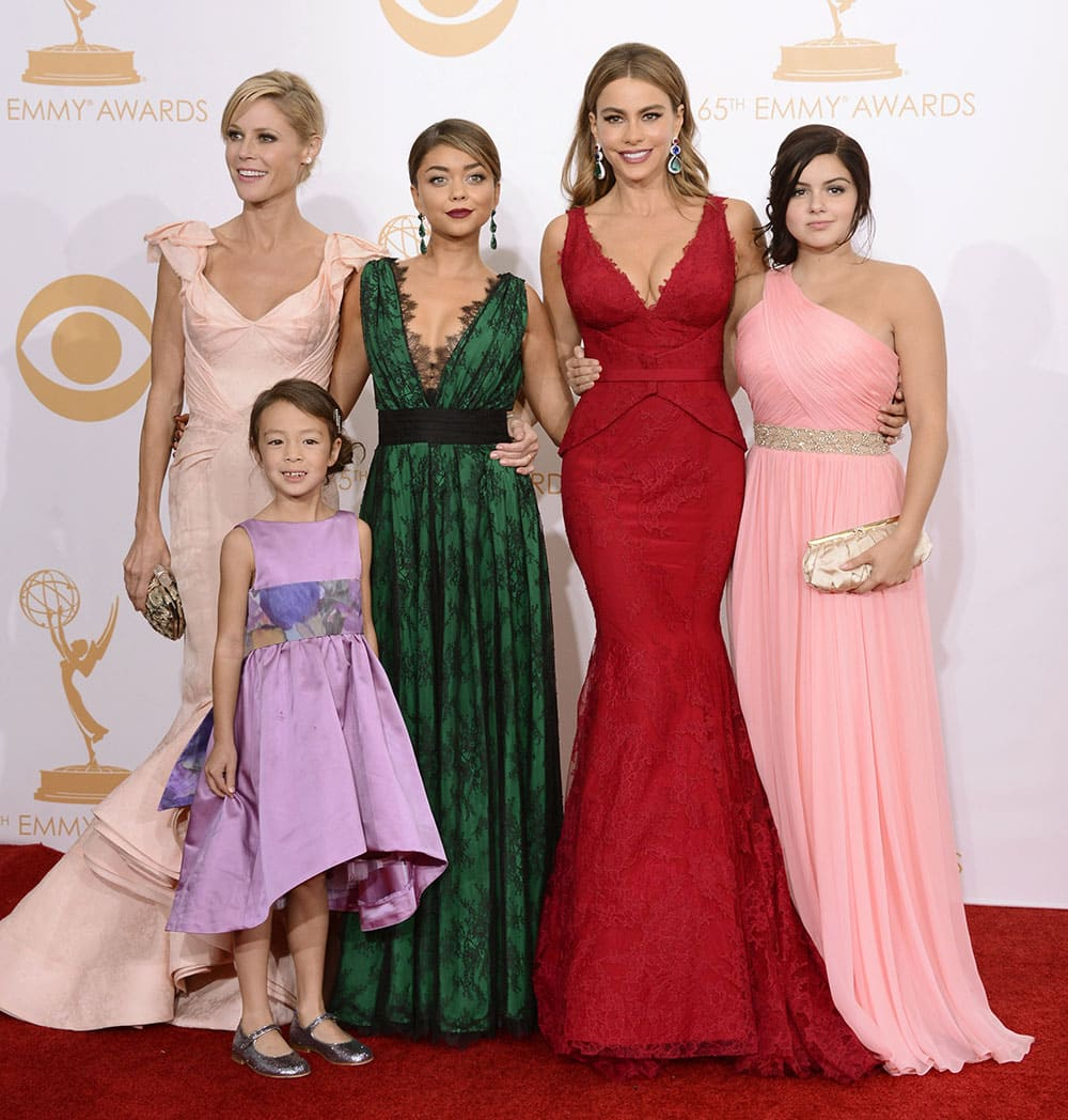 Julie Bowen, from left, Aubrey Anderson-Emmons, Sarah Hyland, Sofia Vergara and Ariel Winter, winners of outstanding comedy series for
