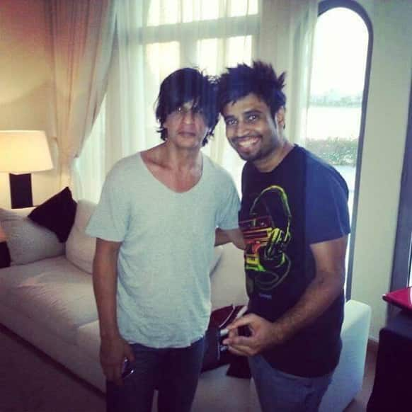 Shah Rukh Khan with DJ Shadow at the villa party thrown by him in Dubai last week.