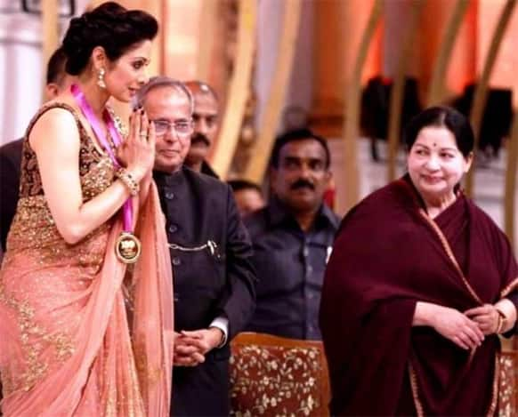 For her contribution to the Indian cinema, actress Sridevi was felicitated with a Medallion of Honour by President Pranab Mukherjee in Chennai on Tuesday. Tamil Nadu's Chief Minister Jayalalitha can be seen in the picture.
