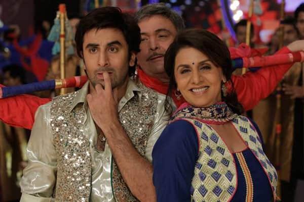 Ranbir, Rishi and Neetu Kapoor in a still from 'Besharam'.