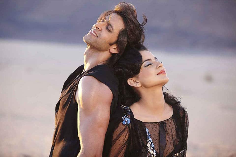 Hrithik Roshan and Kangna Ranaut in a still from 'Krrish 3'.