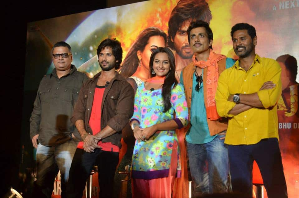 The 'R...Rajkumar' team at the trailer launch. Pic courtesy: Facebook