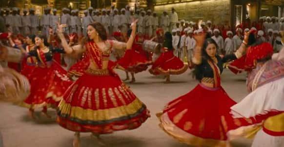 The lady in red - Leela (Deepika Padukone) - dancing to the tunes of 'Nagada Sang Dhol'.