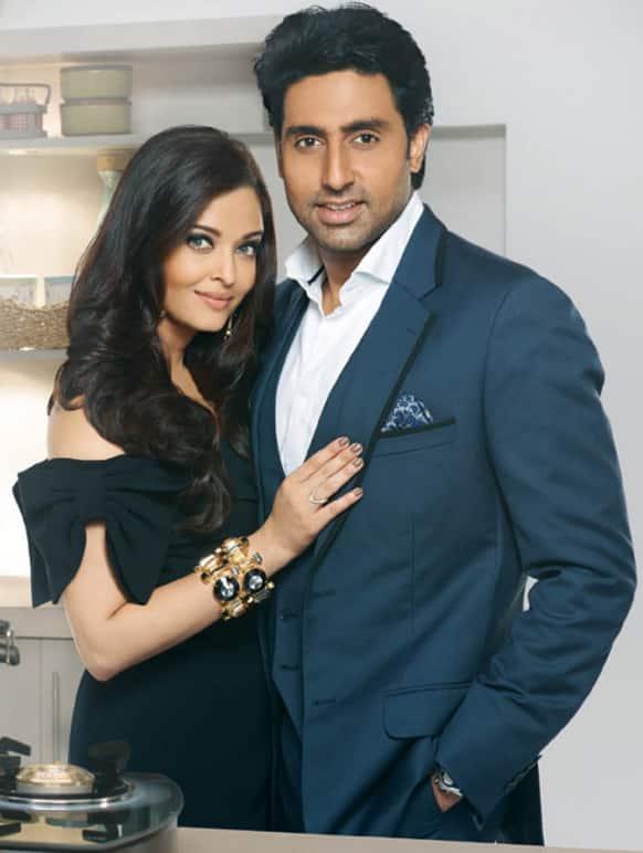 Aishwarya and Abhishek Bachchan pose for the Prestige pressure cooker print commercial.