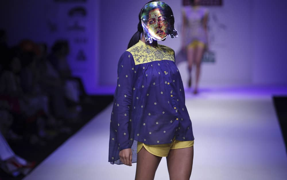 A model displays a creation by Nida Mahmood during the Wills lifestyle Fashion Week in New Delhi.