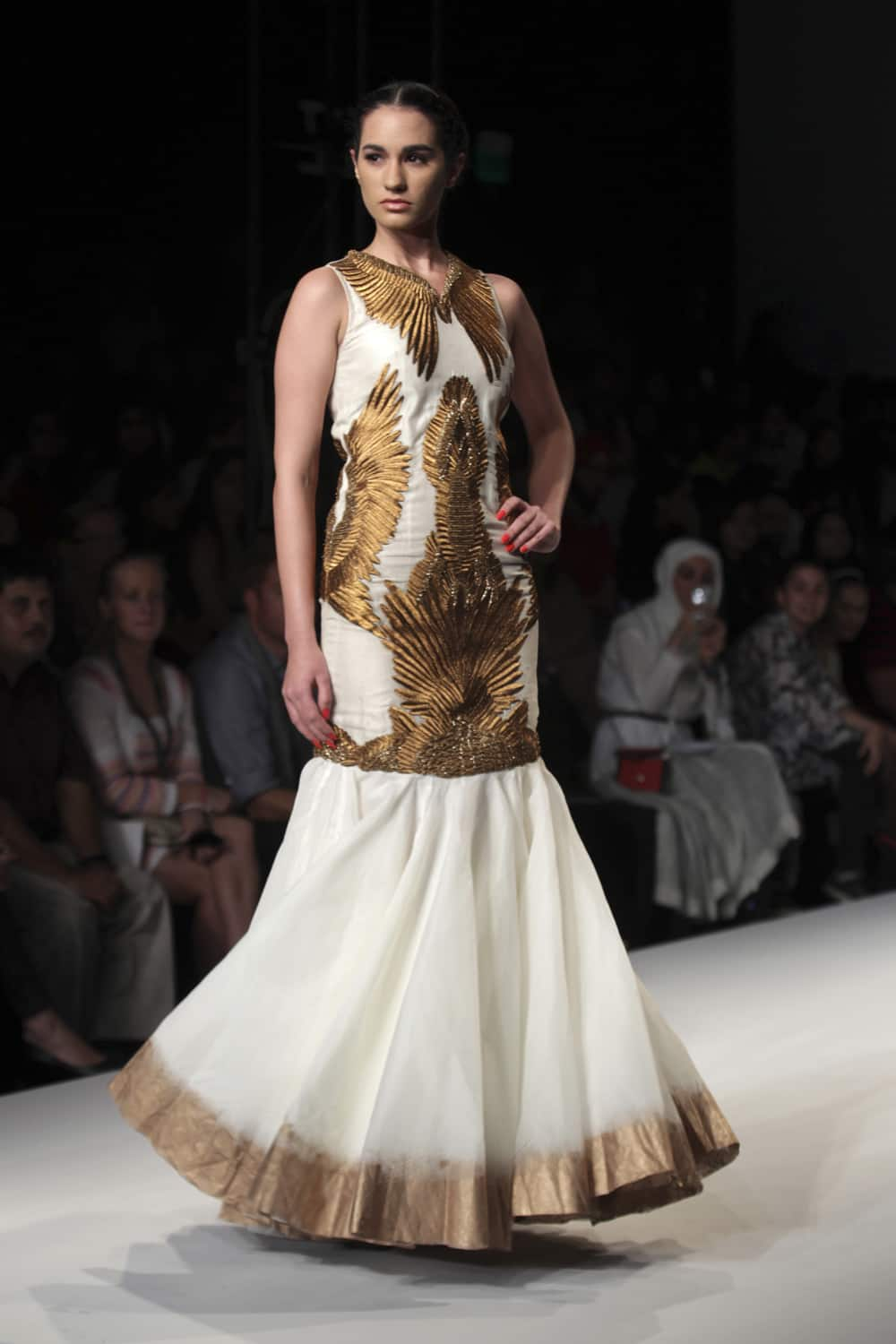 A model displays a creation by Samant Chauhan during the Wills lifestyle Fashion Week in New Delhi.