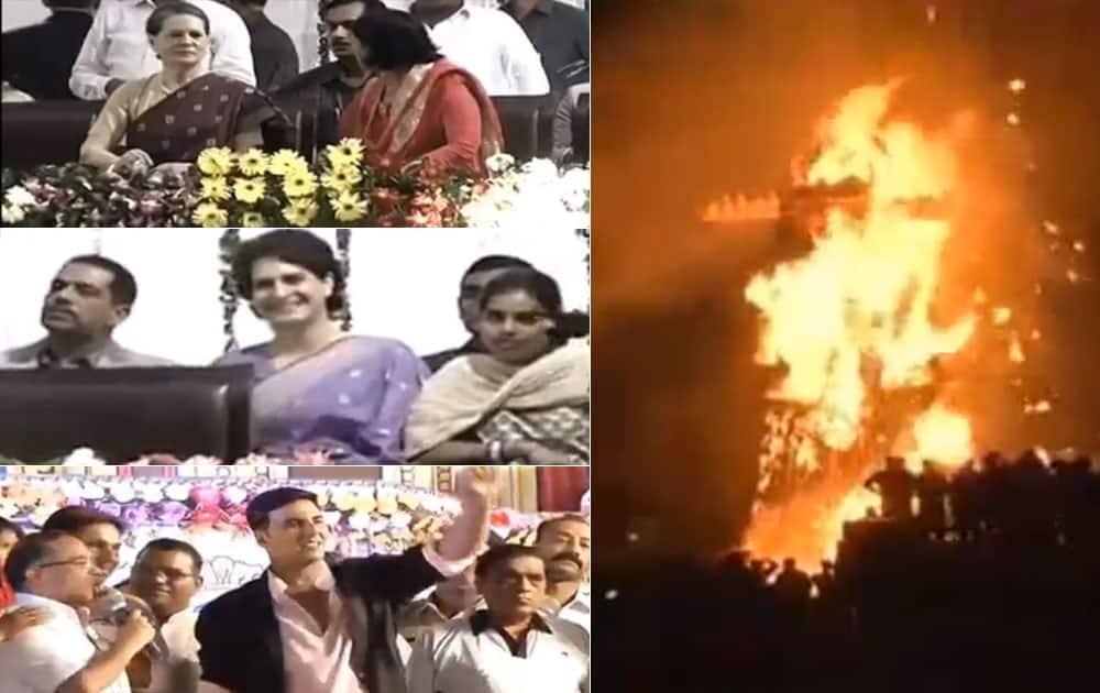 Sonia Gandhi, Priyanka Vadra and film star Akshay Kumar at Parade ground at Red Fort during the burning of the effigy of Ravan.