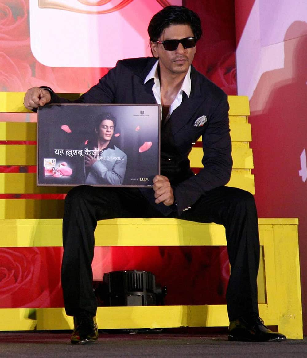Bollywood actor Shahrukh Khan during a promational event, in Mumbai.