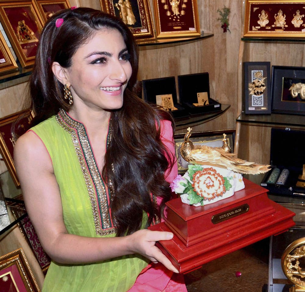 Soha Ali Khan during a promotional event in Mathura.
