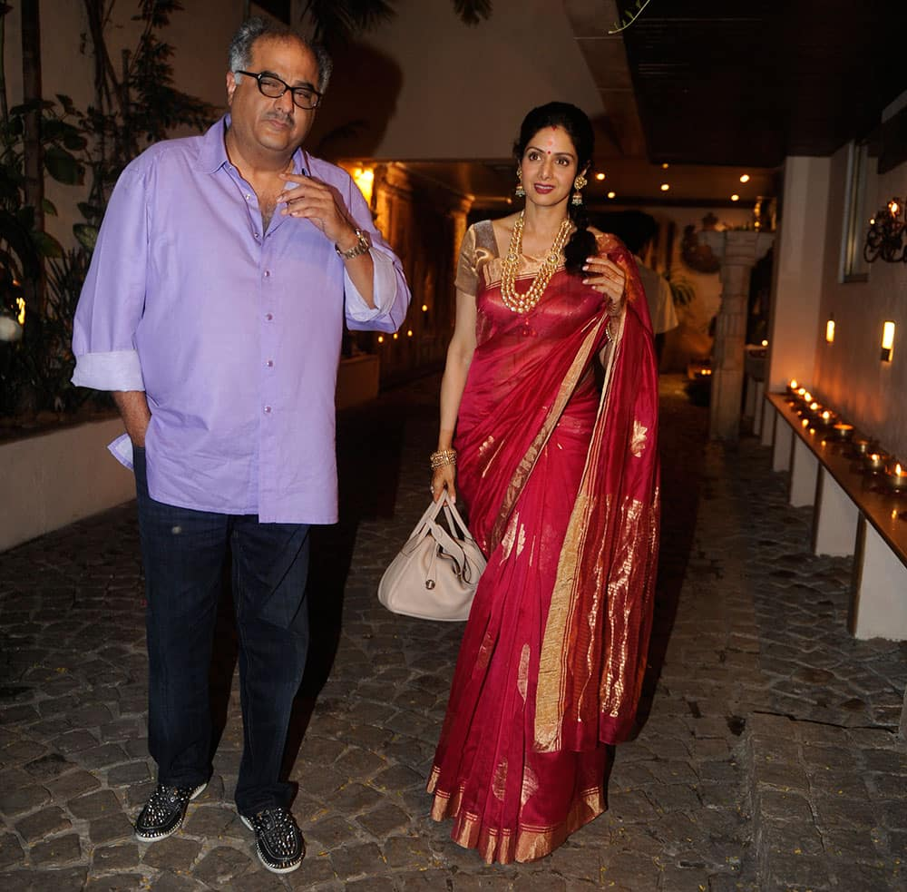 Boney Kapoor and Sridevi at Karwa Chauth party hosted by Anil Kapoor in Mumbai. Pic Courtesy: DNA