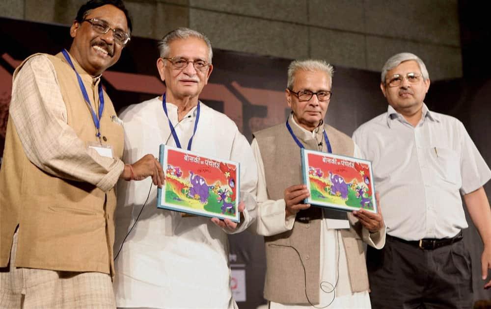 (Lto R) Writer Pavan K Verma, lyricist Gulzar, hindi poet Kedarnath Singh and Ashok Maheshwari, MD, Rajkamal Prakashan, at the launch of Gulzar's book 'Boski ki panchtantra' during the Samanvay Indian Language Festival in New Delhi.