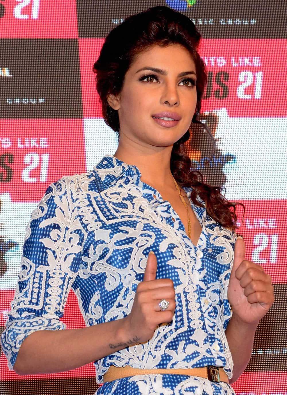 Priyanka Chopra during a promotional event in Mumbai.