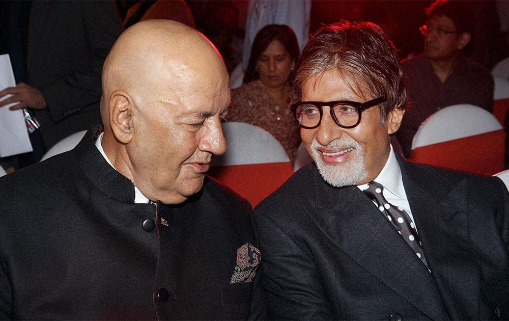 Actors Prem Chopra and Amitabh Bachchan attending a launch event in Mumbai.