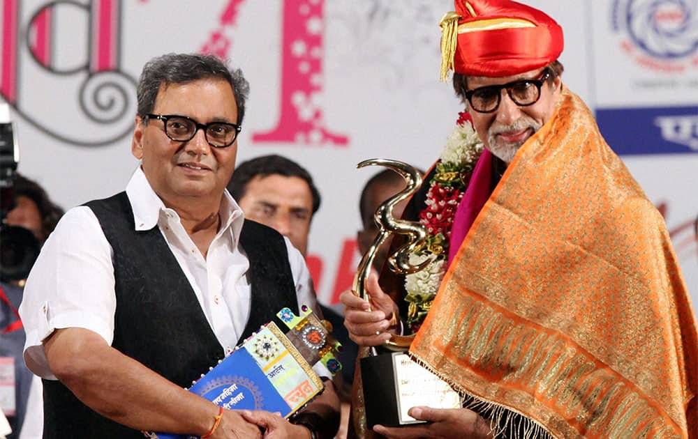 Bollywood actor Amitabh Bachchan received Hridaynath award by hand of producer director Subhash Ghai in Mumbai.