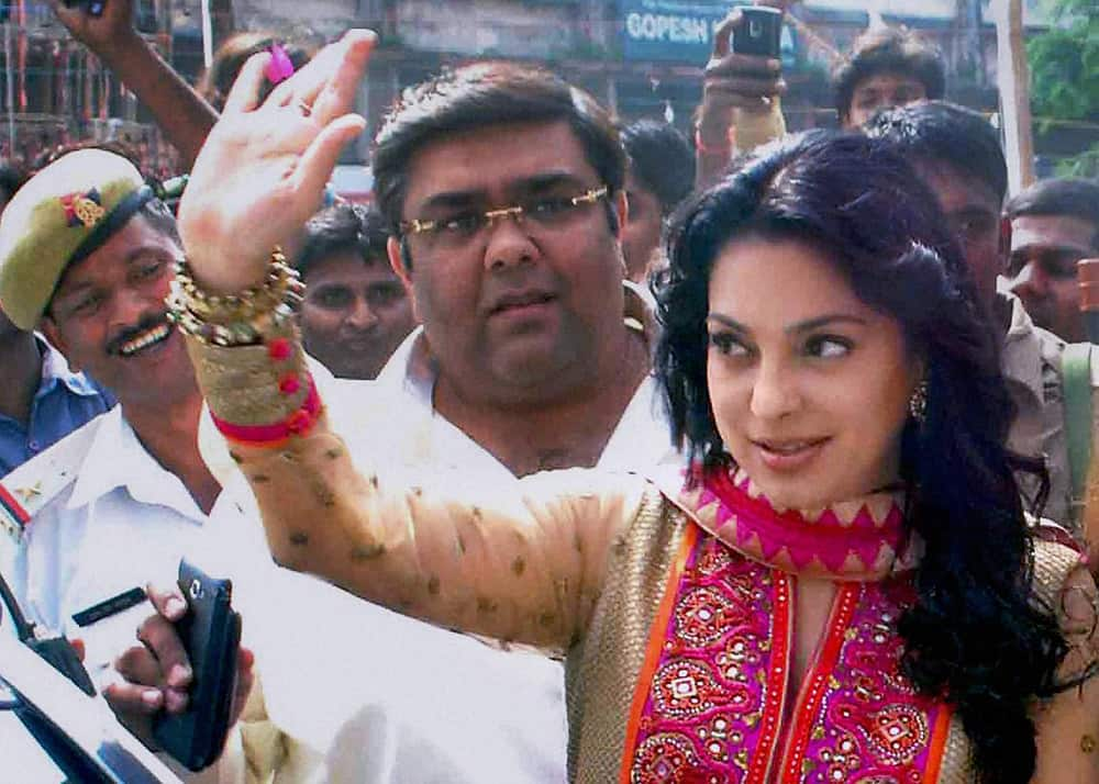 Bollywood actress Juhi Chawla during a promotional event in Allahabad.