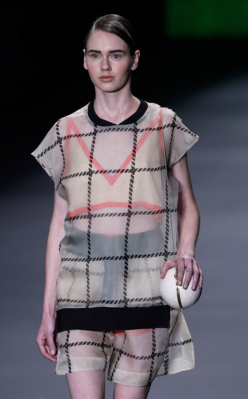 A model wears a creation from Osklen Winter collection during the Sao Paulo Fashion Week.