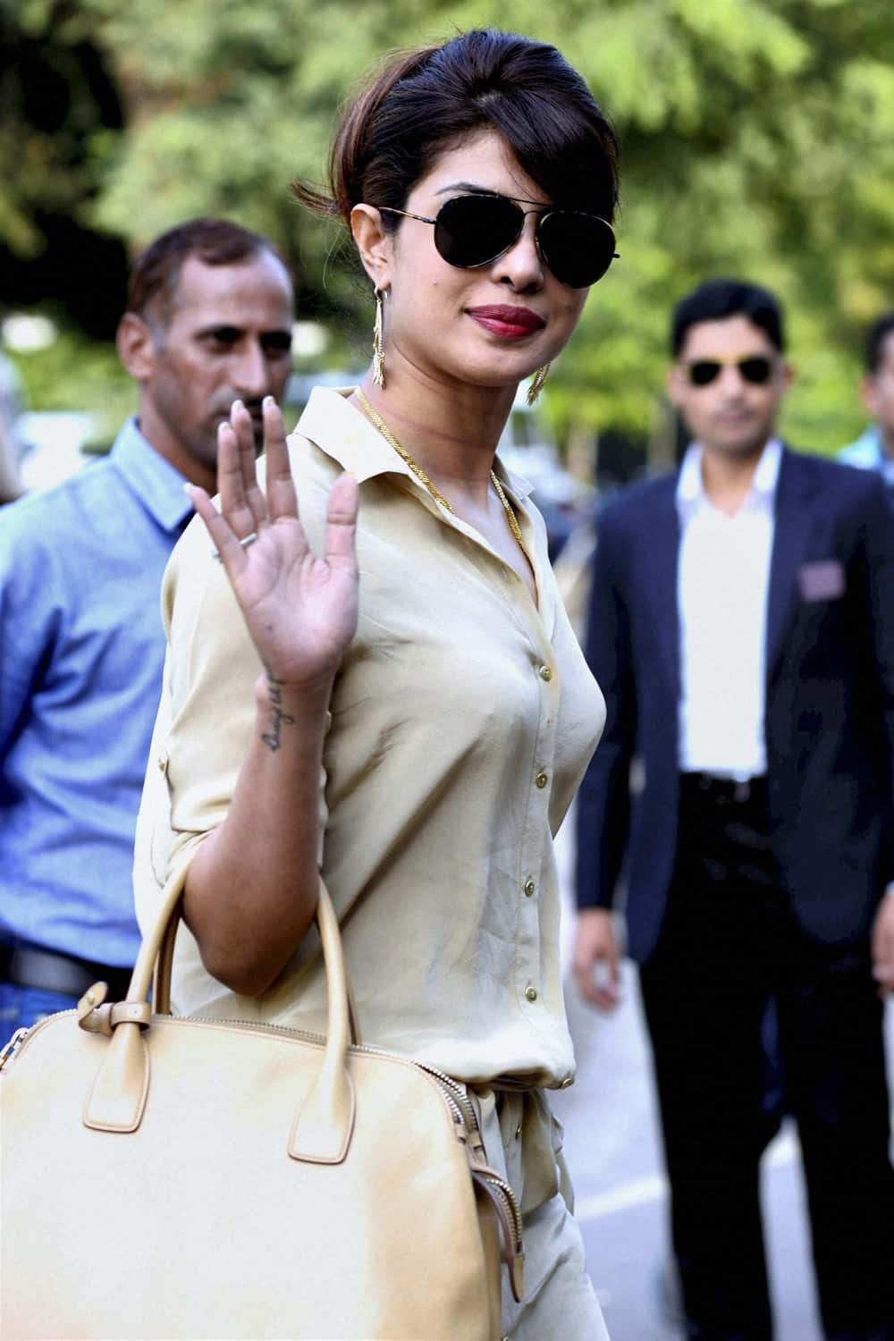 Priyanka Chopra leaving Jodhpur after attending Nita Ambani's birthday, in Jodhpur.