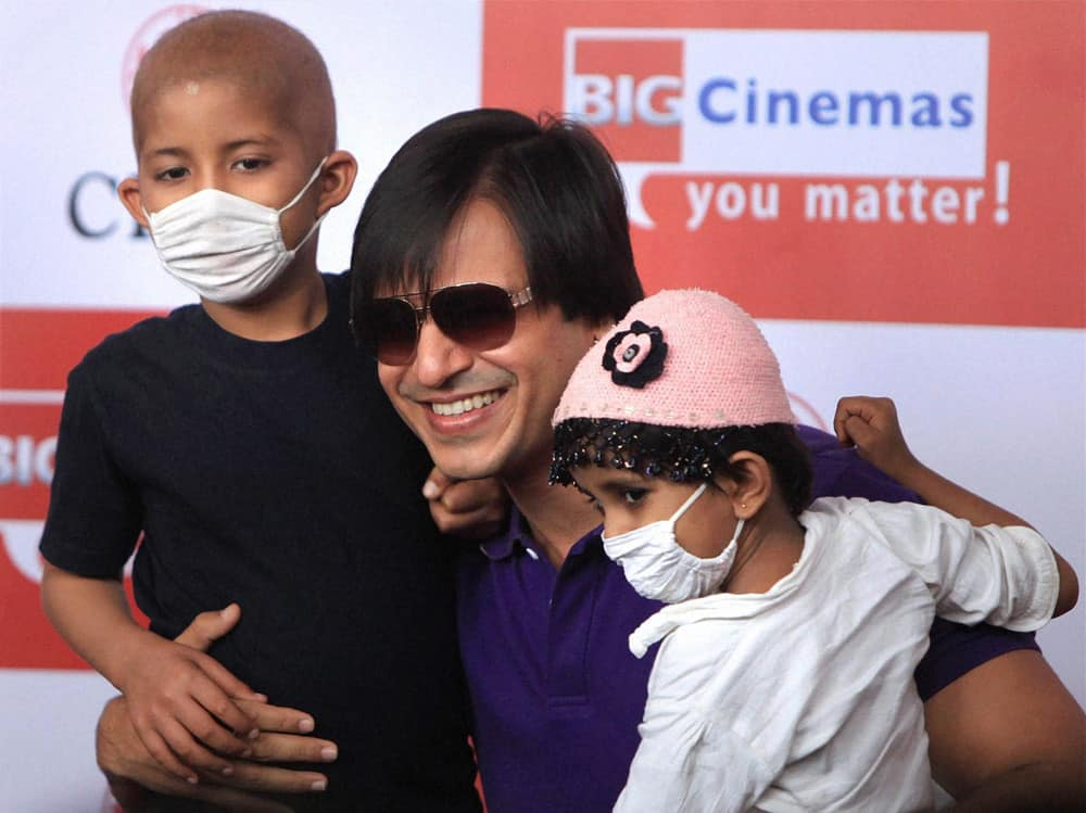 Vivek Oberoi celebrates Diwali with children suffering with cancer, in Mumbai.