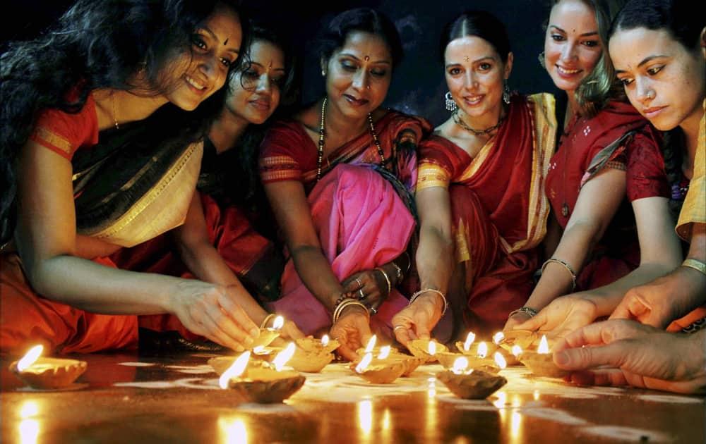 Foreign Odissi dancers along with Guru Sujata Mopatra celebrate Diwali in Bhubaneswar.