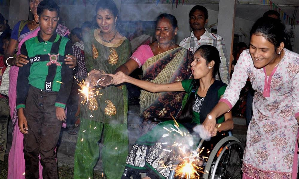Physically challenged children celebrate Diwali in Guwahati.