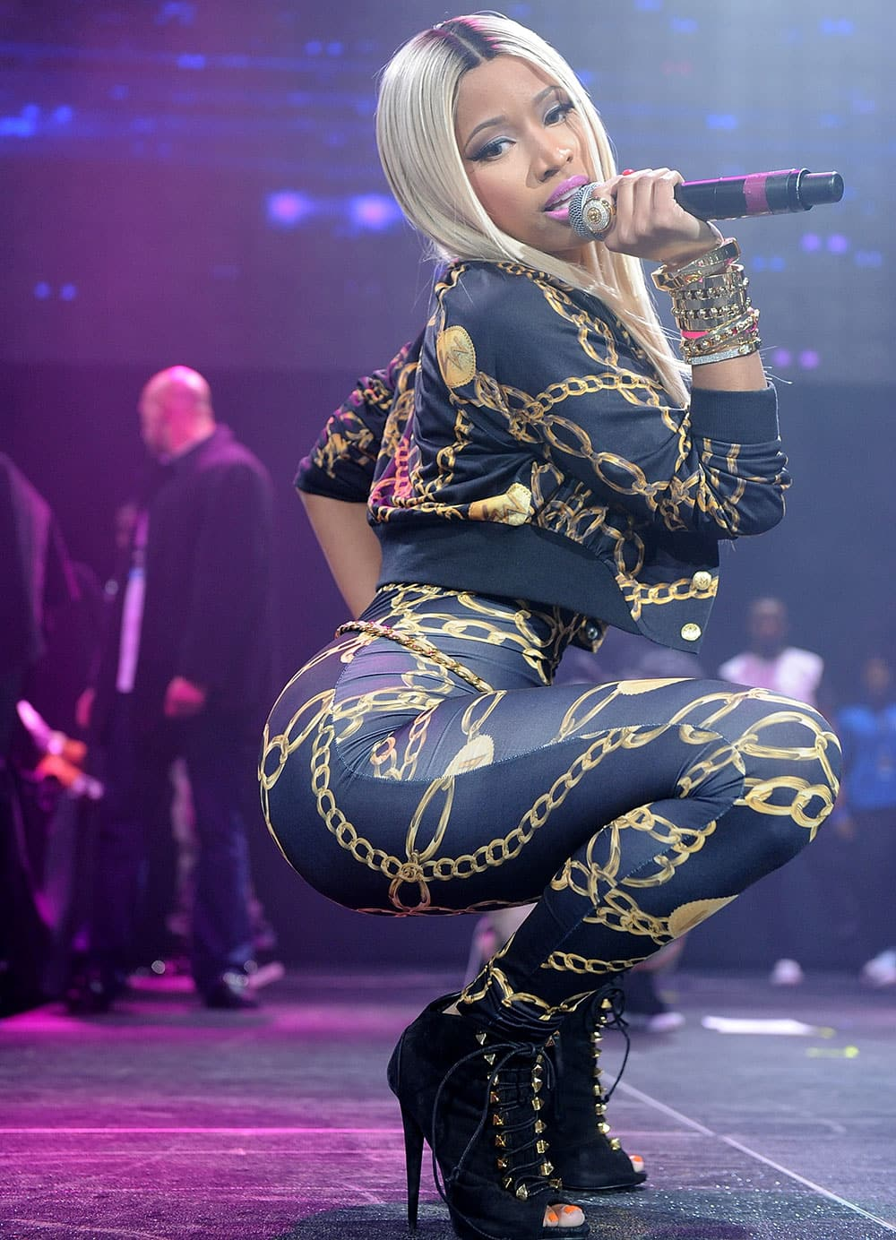 Hip-hop artist Nicki Minaj performs onstage at the Power 105.1's Powerhouse Concert at the Barclays Center, in New York's borough of Brooklyn.