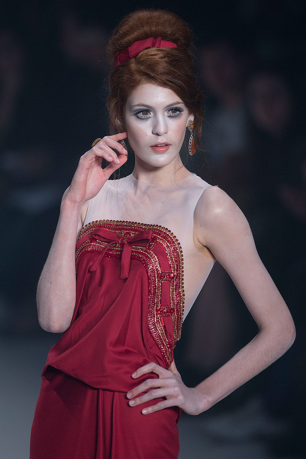 A model wears a creation from Samuel Cirnansck winter collection during the Sao Paulo Fashion Week.