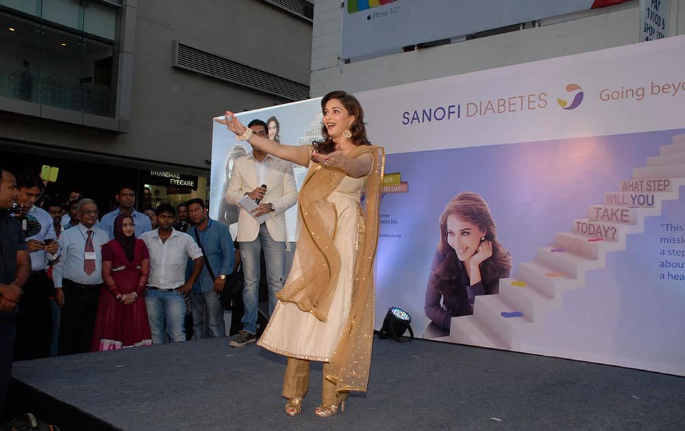 Bollywood actor Madhuri Dixit Nene performs during the launch of diabetes campaign 'What Step Will You Take Today' in Mumbai. Pic Courtesy: DNA