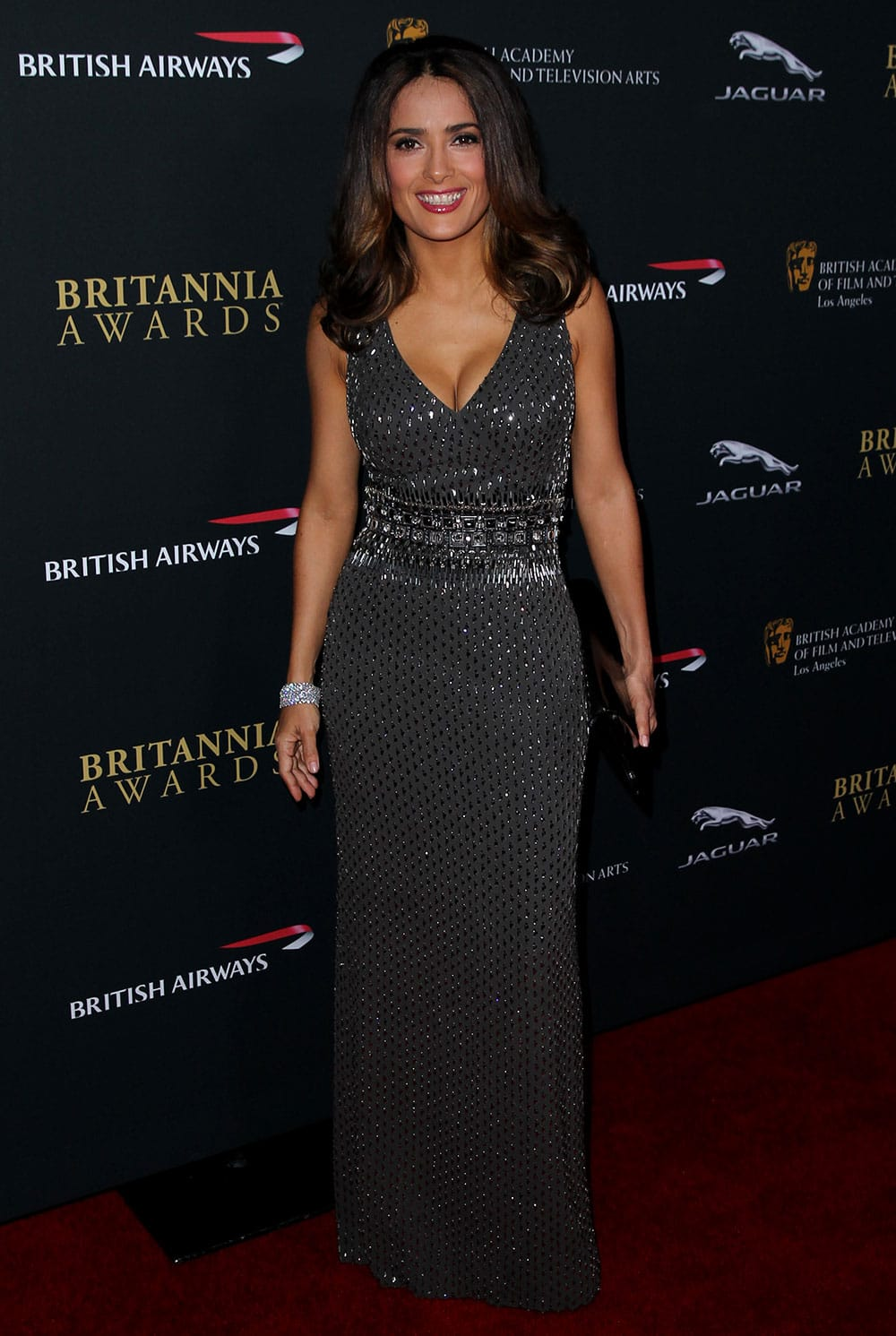 Salma Hayek arrives at the 2013 BAFTA Los Angeles Britannia Awards at the Beverly Hilton Hotel in Beverly Hills, Calif.