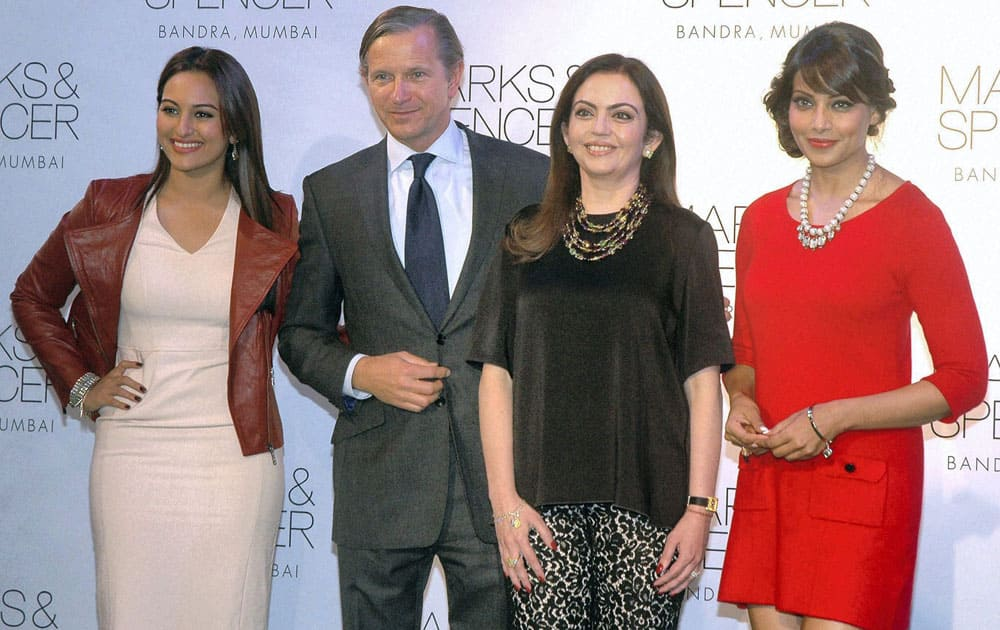 Bollywood Actresses Bipasha Basu, Sonakshi Sinha, Social Activist Nita Ambani and Marc Bolland, CEO of Marks & Spencer during promotional event in Mumbai.
