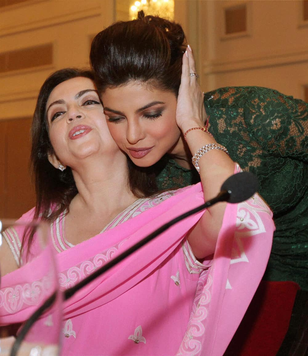 Nita Mukesh Ambani, Chairperson, Reliance Foundation with Bollywood actress Priyanka Chopra during 'Reaching the Health Millennium Goals: The Critical Role of India's Business Sector' session in Mumbai.