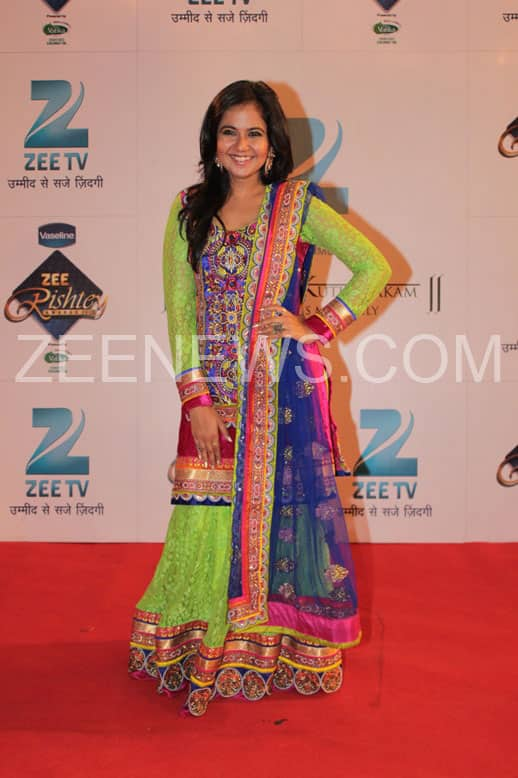 Roopal Tyagi on the Red Carpet of Zee Rishtey Carpet.