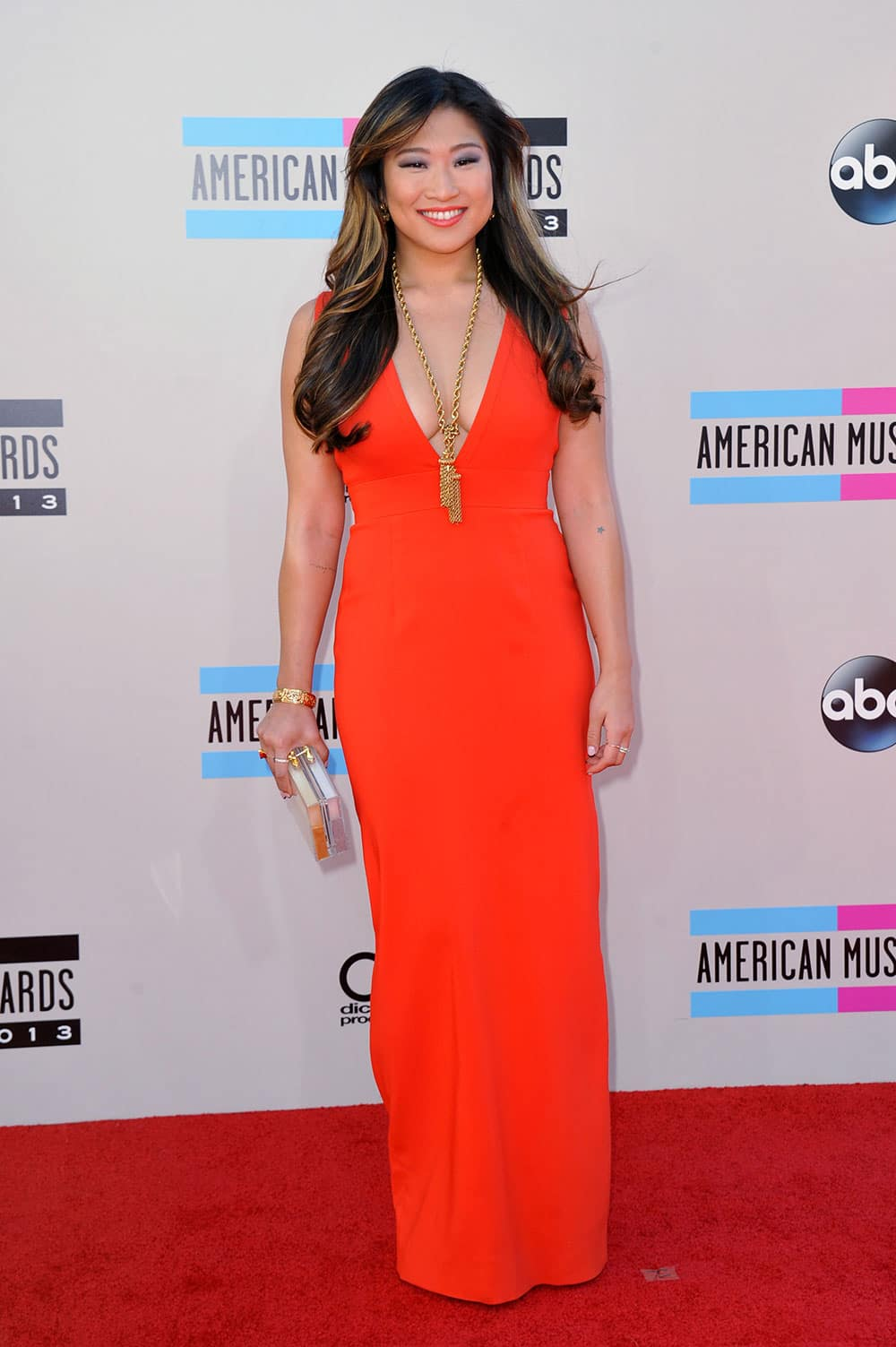 Jenna Ushkowitz arrives at the American Music Awards at the Nokia Theatre L.A.
