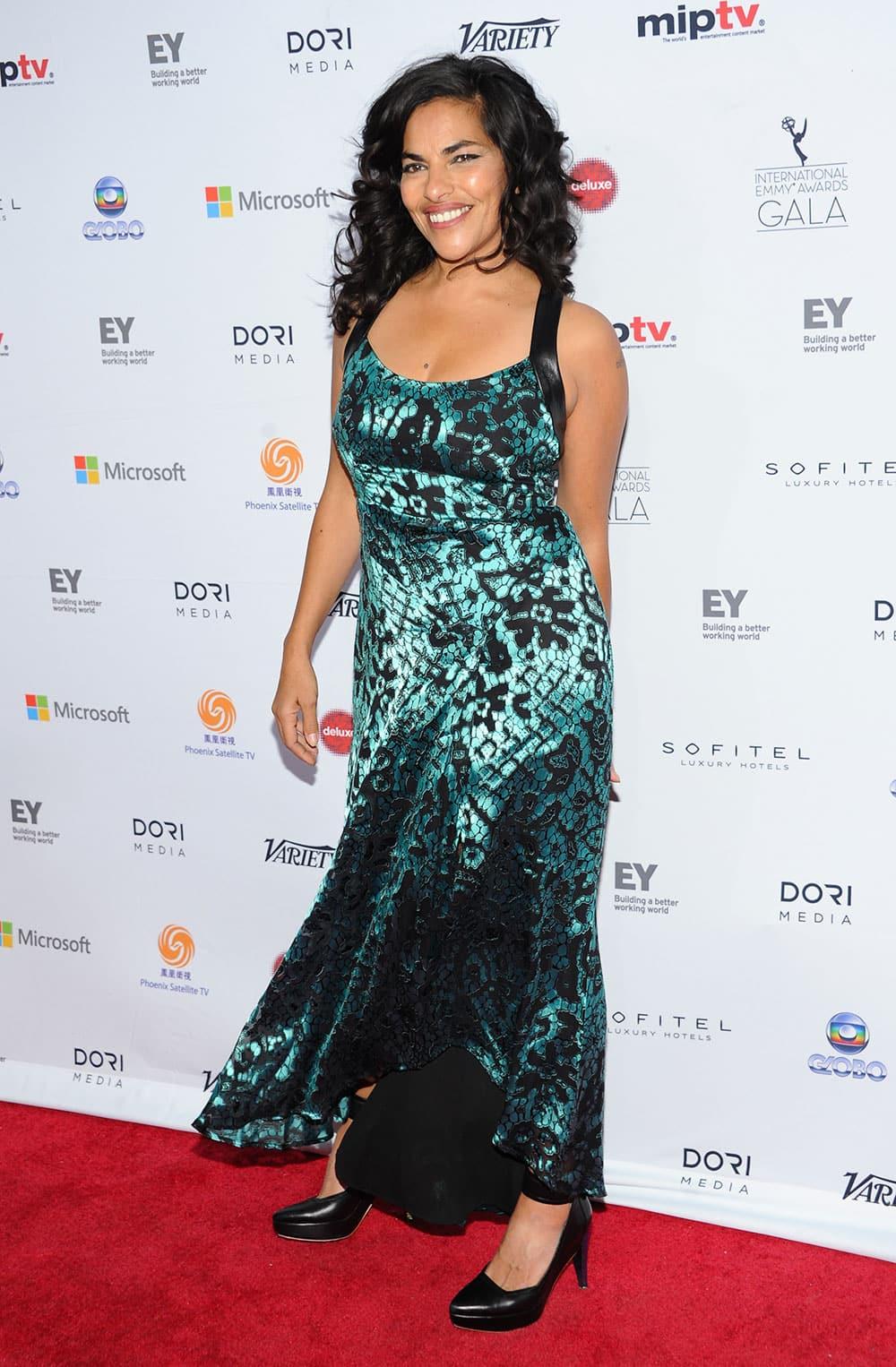 Actress Sarita Choudhury arrives at the 2013 International Emmy Awards Gala at the New York Hilton.