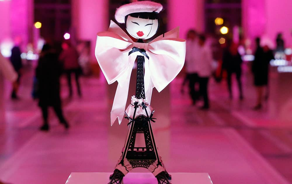 A creation designed by Chantal Thomass displayed at the Petit Palais, in Paris.