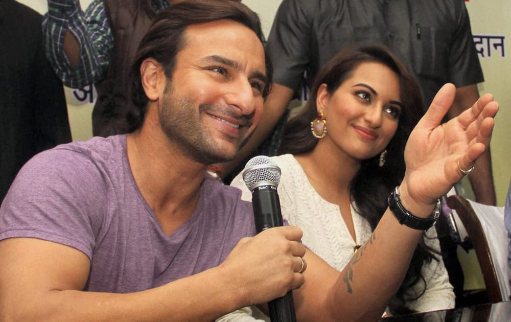 Saif Ali Khan with Sonakshi Sinha with at a voting awareness campaign in New Delhi.