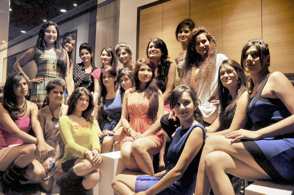 Miss Uttarakhand 2013 contestants at a photo session in Dehradun.