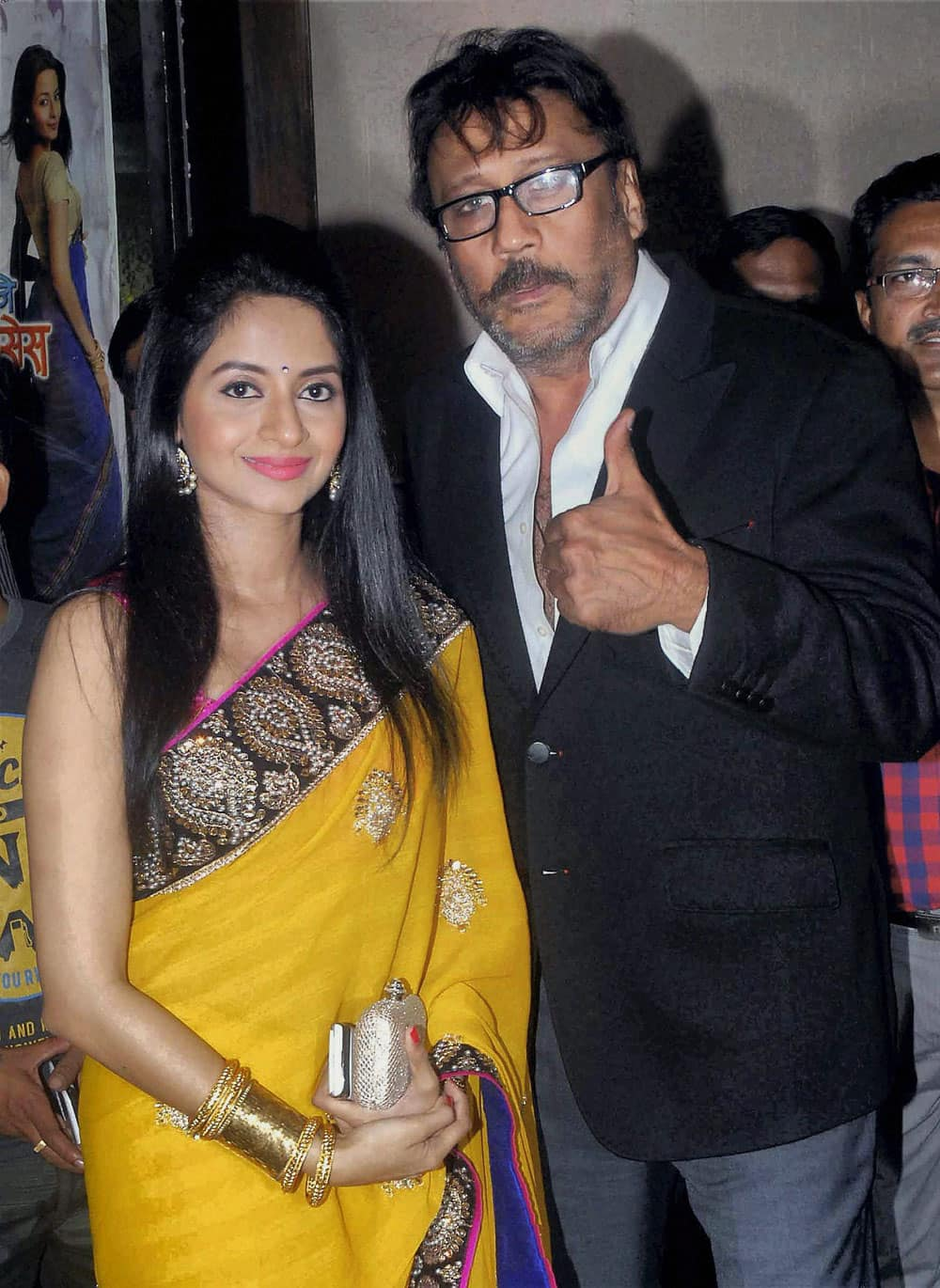 Bollywood actor Jackie Shroff with Marathi actress Amruta Ghuge during promotion of their upcoming Marathi film 'Vishesh Mhanje He Majhi Misses' in Mumbai.