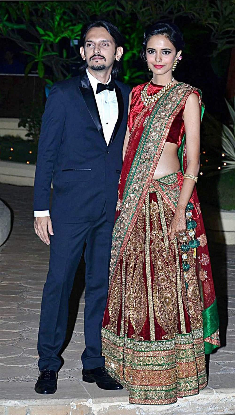 Mahesh Bhatt's son Vishesh Bhatt and his wife during their wedding reception in Mumbai.
