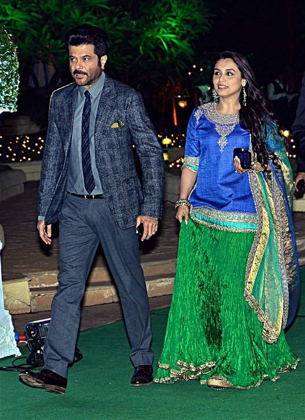 Rani Mukherji and Anil Kapoor at the wedding reception of Mahesh Bhatt's son Vishesh Bhatt in Mumbai.