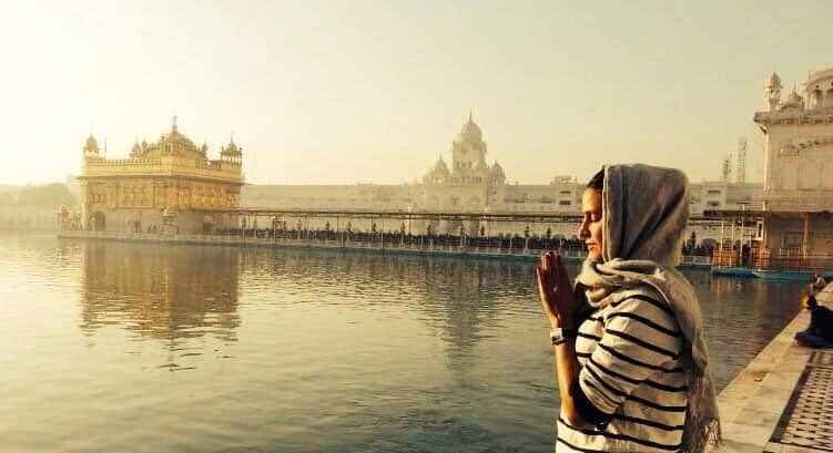 Spotted: Neha Dhupia at Golden Temple. Pic Courtesy: twitter